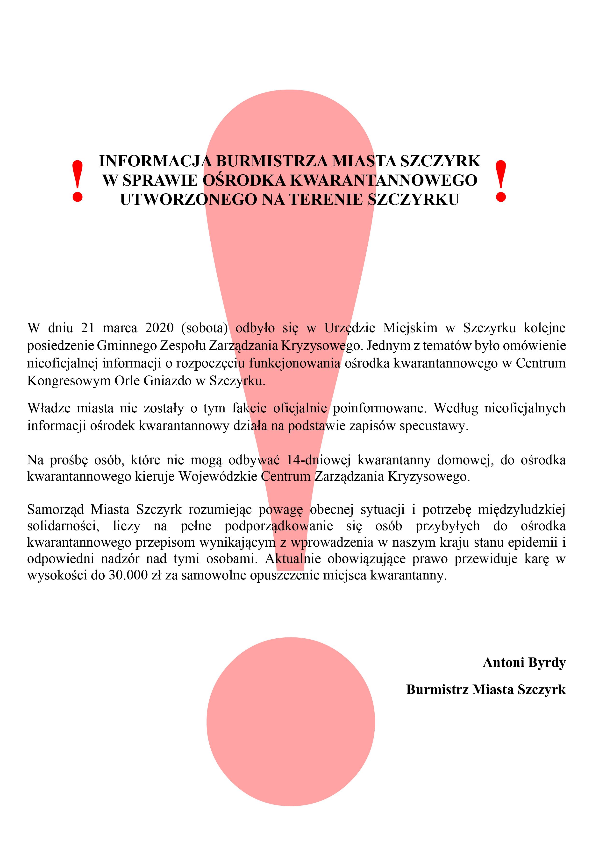 Komunikat Burmistrza - Ośrodek kwarantannowy_wykrzyknik