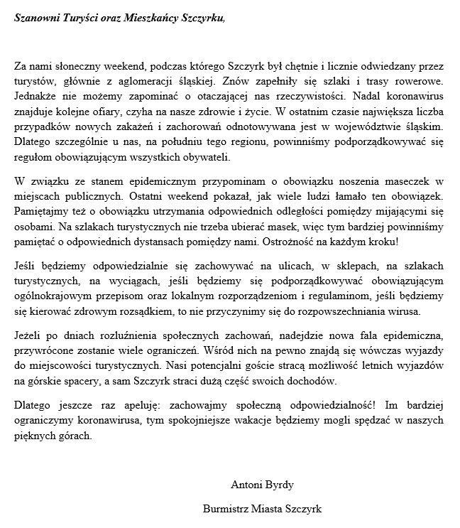 komunikat burmistrza turysci